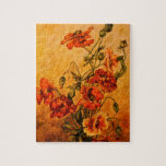 Vivid Late Victorian 1890 Oil Painting of Poppies Puzzles