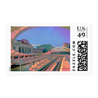 Vivid Look of Union Station, Denver, CO Postage