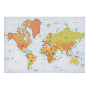 Red world map posters zazzle vivid map of the world poster gumiabroncs Choice Image