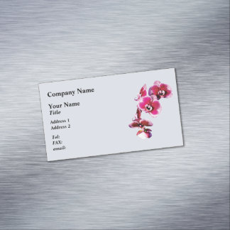 Vivid Maroon Phalaenopsis Orchids Magnetic Business Card