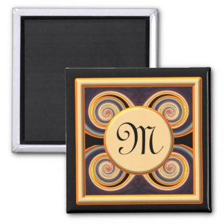Vivid Monogrammed Art Round Magnet