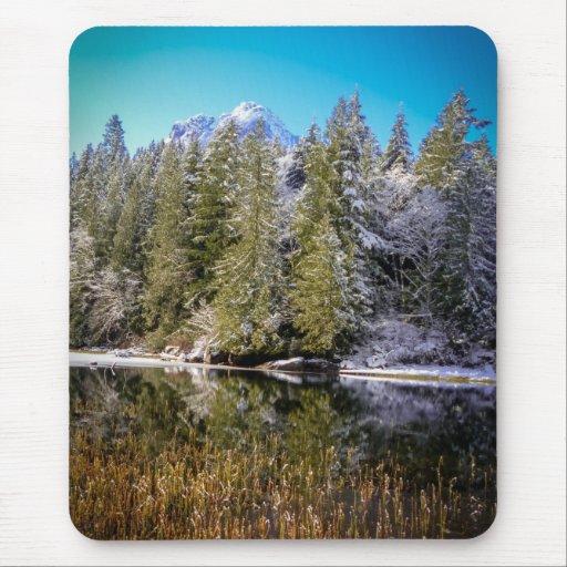 Vivid Mountain Lake Winter Landscape Photo Mousepad