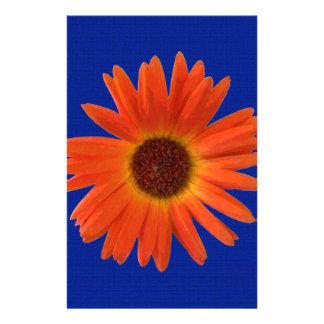 Vivid Orange and Yellow Gerbera Daisy in Abstract Stationery