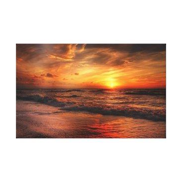 Beach Themed Vivid Orange Beach Sunset Canvas