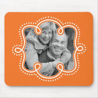 Vivid Orange Doodled Outline Custom Photo Mouse Pad