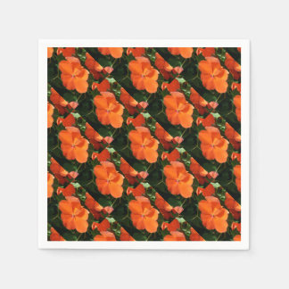 Vivid Orange Vermillion Impatiens Flower Paper Napkin