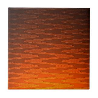Vivid Orange Zigzag Modern Art Tile