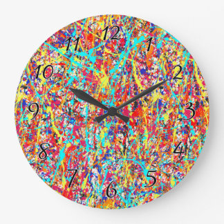 Vivid Paint Splatter Abstract Large Clock