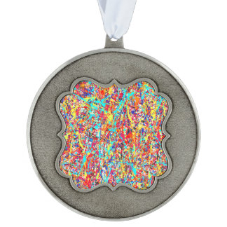 Vivid Paint Splatter Abstract Ornament