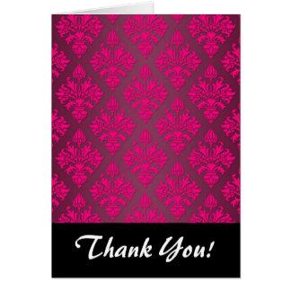 Vivid Pink Artichoke Floral Damask Pattern Card