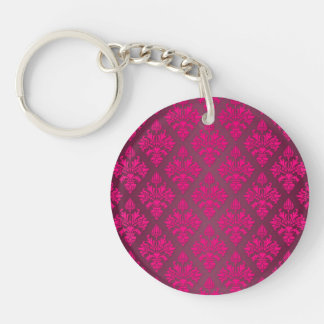 Vivid Pink Artichoke Floral Damask Pattern Keychain