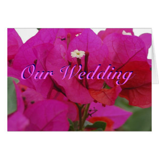 Vivid Pink Bougainvillea Wedding Card