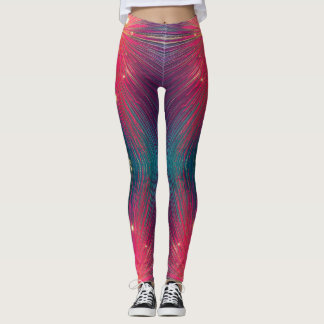 Vivid pink & teal abstract photography leggings