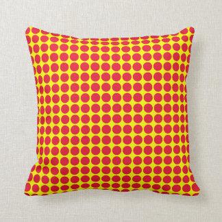 Vivid polka dots, yellow and red pillows