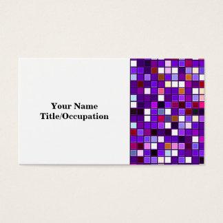 Vivid Purple Multicolored Square Tiles Pattern Business Card