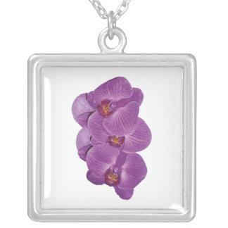 Vivid Purple Orchids Square Pendant Necklace