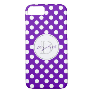 Vivid Purple Polka Dot Monogrammed iPhone 7 Case
