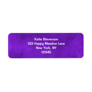 Vivid Purple Watercolor Texture Return Address Label