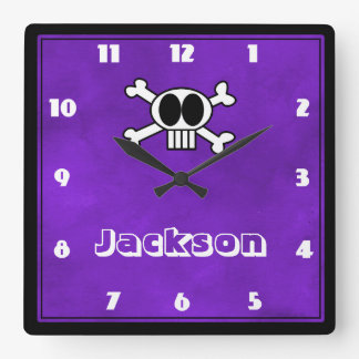 Vivid Purple Watercolor Texture with Funny Skull Square Wallclocks