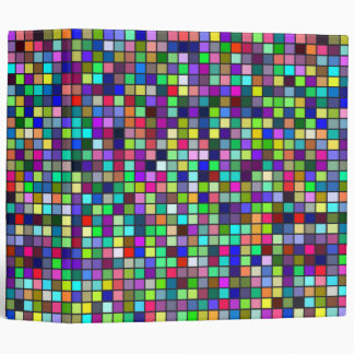 Vivid Rainbow Colors And Pastels Squares Pattern 3 Ring Binder