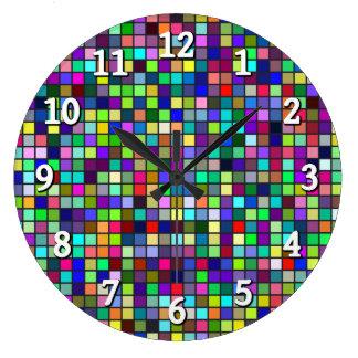 Vivid Rainbow Colors And Pastels Squares Pattern Clocks