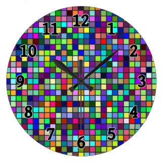 Vivid Rainbow Colors And Pastels Squares Pattern Wall Clock