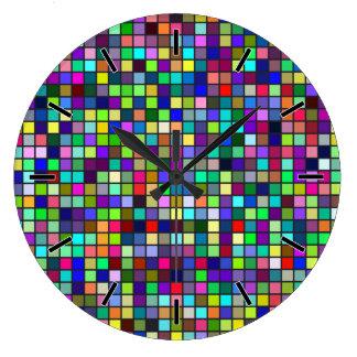 Vivid Rainbow Colors And Pastels Squares Pattern Wall Clocks