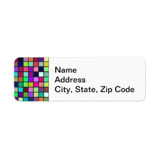Vivid Rainbow Colors And Pastels Squares Pattern Label