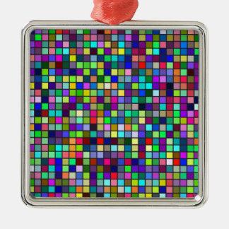 Vivid Rainbow Colors And Pastels Squares Pattern Metal Ornament