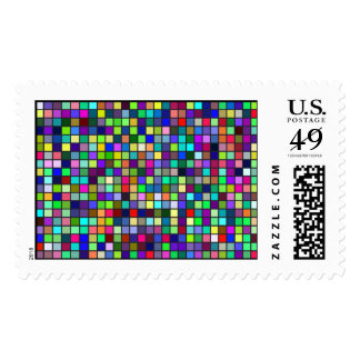 Vivid Rainbow Colors And Pastels Squares Pattern Postage Stamp