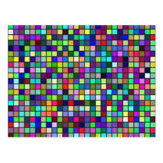 Vivid Rainbow Colors And Pastels Squares Pattern Postcard