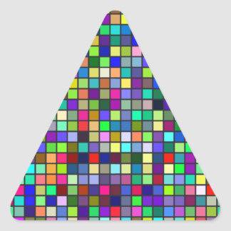 Vivid Rainbow Colors And Pastels Squares Pattern Triangle Sticker