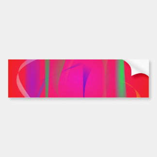 Vivid Red Abstract Bamboo Thicket Car Bumper Sticker