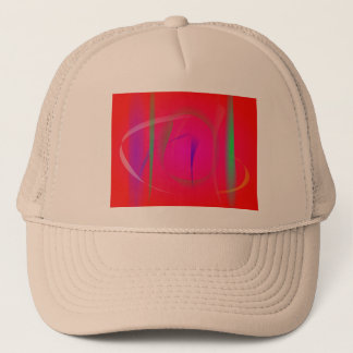 Vivid Red Abstract Bamboo Thicket Trucker Hat