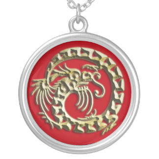 Vivid Red and Gold Dragon Necklace