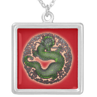 Vivid Red and Green Dragon Necklace