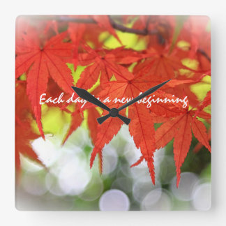 Vivid Red Autumn Maple Leaves White Bokeh Fall Wall Clock