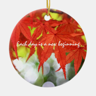 Vivid Red Autumn Maple Leaves White Bokeh Fall Double-Sided Ceramic Round Christmas Ornament