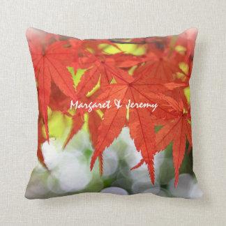 Vivid Red Autumn Maple Leaves White Bokeh Fall Throw Pillows