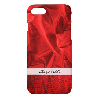 : Vivid Red Faux Metallic Lame' Fabric iPhone 8/7 Case