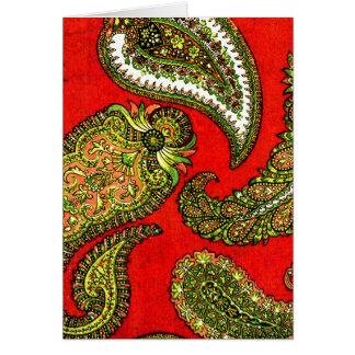 Vivid Red Indian Paisley Greeting Card