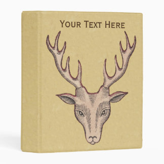 Vivid Red Outlined Deer Head Illustration on Brown Mini Binder