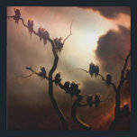 """Vivid Retro - Ghosts in a Tree Faux Canvas Print<br><div class=""""desc"""">The spooky,  unsettling ghosts figures sitting in a tree,  by the Austrian surrealist painter Franz Sedlacek,  1933. Now edited to be more vivid and contrast full to suit the wearable fashion.</div>"""