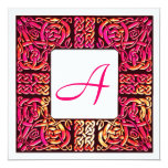 Vivid Rose Celtic Monogrammed Wedding Invitation
