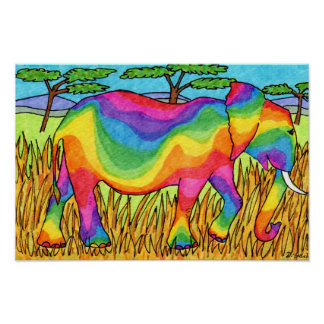 Vivid Serengeti Rainbow Elephant Folk Art Poster