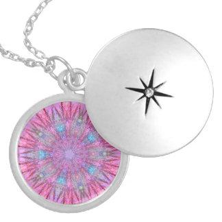 Vivid Snowflake Fractal Round Locket Necklace