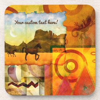 Vivid Southwest Desert Horse Graphic Collage Beverage Coaster