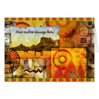 Vivid Southwest Desert Horse Graphic Collage Card
