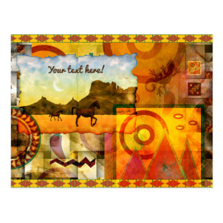 Vivid Southwest Desert Horse Graphic Collage Postcard