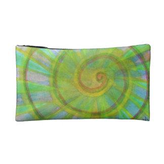 Vivid spiral and kaleidoscope makeup bag